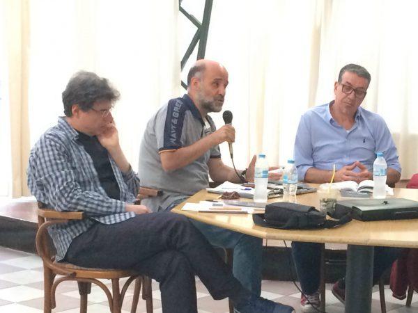 Ο Διονύσης Ελευθεράτος, ο Θανάσης Κάππος και ο Σούλης Τσακανίκας στο πάνελ της εκδήλωσης.